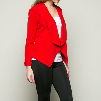 Draped Collar Blazer Red