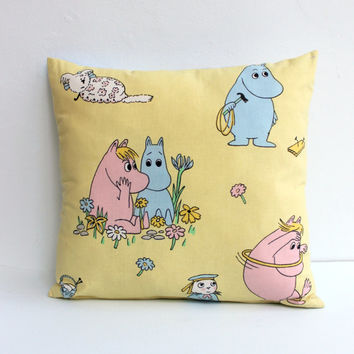 Moomin Nursery pillow case, Handmade Moomin decor pillow case for baby boy/girl room. Nursery pillow decor cushion. Throw Yellow pillow.