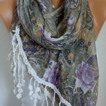 Purple Roses Floral Scarf - Cotton Scarf - Shawl - Cowl Scarf with Lace Edge - fatwoman- Spring Flowers - Beach wrap