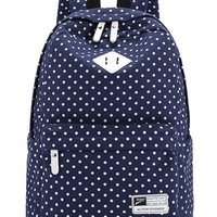 Leaper Casual Style Canvas Laptop Backpack/ School Bag/ Travel Daypack/ Handbag with Laptop Lining (Dark Blue)