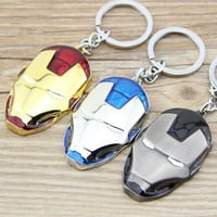 1PCS Marvel Super Hero The Avengers Iron Man Mask Metal Keychain Pendant Key Chain chaveiro llaveros KT109