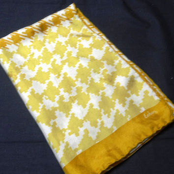 Vintage Silk Neck Scarf by Echo in Yellow Houndstooth - 45 x 14.5 Inches, Sweet Item from 1960s or Earlier