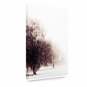 "Sylvia Coomes ""Winter Landscape"" Maroon White Canvas Art"