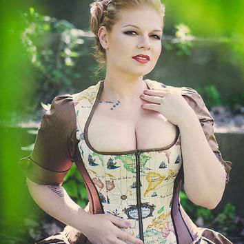 Steampunk Corset Jacket - Wedding Top - Renaissance Pirate Outfit -Custom to your size