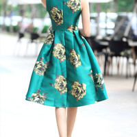 Green Rose Print Midi Dress