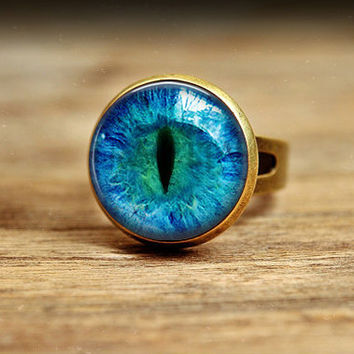 1 PC Free shipping Vintage glass Cat Eye Ring Art Picture bronze and silver Adjustable Ring Handmade Jewelry