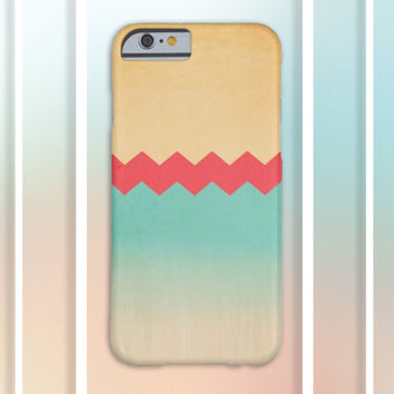 Gold x Peach x Ocean Blue x Wood Chevrons Design Case for iPhone 6 6+ iPhone 5 5S 5C iPhone 4 4S and Samsung Galaxy S5 S4 & S3