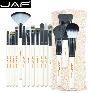 15-piece Makeup Brush Kit Super Soft Hair PU Leather Case Holder Make Up Brush Set