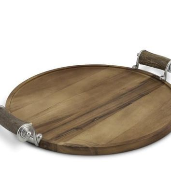 Antler Handle Wood Serving Tray
