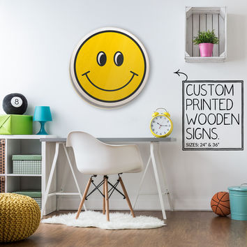 Smiley Face Custom Wood Patch Printed Sign Unique Trendy Game Room