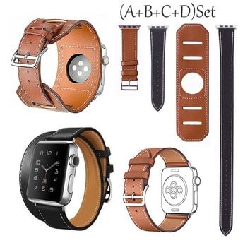 Cuff Genuine Leather Watch Band Wrist Strap Bangle For Apple watch Iwatch 38 42
