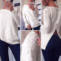 Lace Sleeve  Button Down Back Shirt