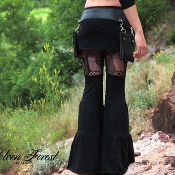 Black Patchwork Lace Zumi Pants - with adjustable skirt length - Dance