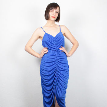 Vintage 80s Dress Cobalt Blue Dress Midi Dress Gathered Ruched Dress Grecian Goddess Dress 1980s Dress Party Prom Dress M Medium L Large