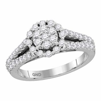 14kt White Gold Women's Round Diamond Flower Cluster Split-shank Ring 3-4 Cttw - FREE Shipping (USA/CAN)