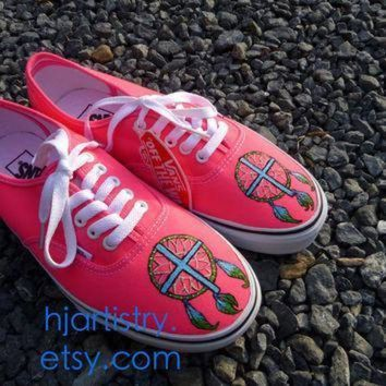 VONE05D dreamcatcher cross shoes painted vans toms converse