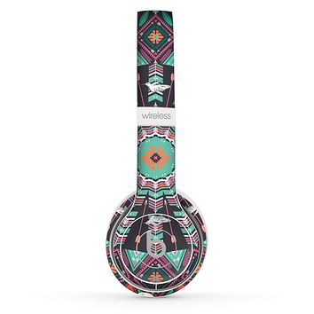 The Mirrored Coral and Colored Vector Aztec Pattern Skin Set for the Beats by Dre Solo 2 Wireless Headphones