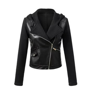Sisjuly Faux Leather Jackets Women Hooded Jacket Black Patchwork Autumn Winter Zipper PU Coat Punk Motorcycle Outerwear
