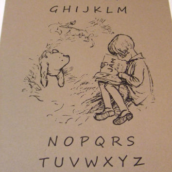 Alphabet With Pooh Nursery Print Classic by prettypetalspaper