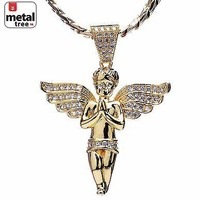 Jewelry Kay style Men's 14k Gold Plated Micro Angel Pendant Miami Cuban Chain Necklace MBP 924