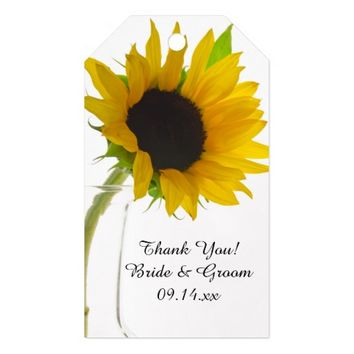 Yellow Sunflower on White Wedding Favor Tag Pack Of Gift Tags