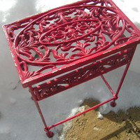 1920s Heavy Ornate Cast Iron Garden Patio Table Shabby Chic Red