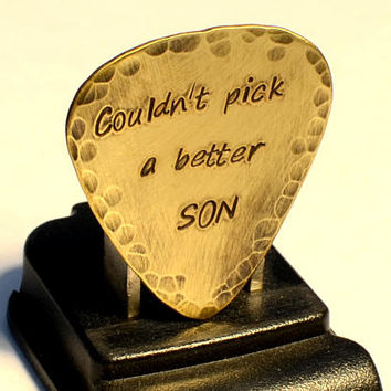 Couldn't Pick a Better Son Rustic Brass Guitar Pick with a Youthful Boho Flair