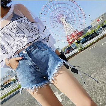 Fashion Short Jeans High Waisted Denim Shorts Women 2018 Summer Mini  Tassle Cotton Lace-up Blue Sexy Slim Jeans Shorts