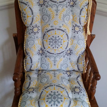 Grey & Yellow Flourish High Chair Cushions, Highchair Pads, Wooden High Chair Cushions, Rocking Chair Cushions, High Chair Cover