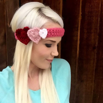 Valentine Pink Red Crochet Ombre Heart Headband w/ Natural Vegan Coconut Buttons Adjustable Hair Band Girl Woman Head Wrap Knit Accessories