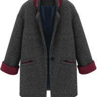 Color Block Lapel Worsted Coat