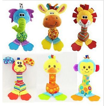 2015 NEW arriving Giraffe&Lion Baby Toys rattles mobile Cartoon Animal Plush Toys hand stick with tooth rubber Free Shipping