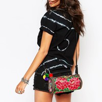 Reclaimed Vintage Embroidered Barrel Body Bag with Floral Embroidery at asos.com
