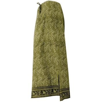 PEAPGQ9 Green Indian Print Drawstring Skirt