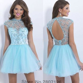 Elegant Ice Blue 2017 Cocktail Dresses Tulle Open Back Short Party Gowns High Front Low Back Tiered Robe De Cocktail