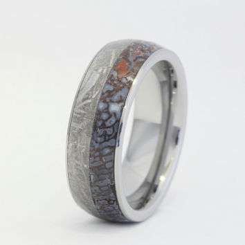 Tungsten Ring with a Dinosaur Bone and Meteorite Inlay