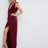 ASOS Drape Satin Maxi Dress at asos.com