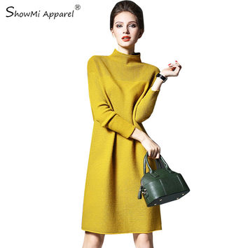 ShowMi Apparel Women Fall Dresses 2016 Autumn Winter Red Yellow Green Plus Size Turtleneck Long Sleeve Knitted Sweater Dress