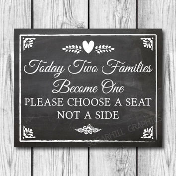 Chalkboard Wedding Sign, Printable Wedding Sign, Chalkboard Wedding Today Two Families Become One Sign, Wedding Decor, Instant Download