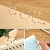 New Fashion 2pcs/lot Creative Cute Paper Clips Bookmark Memo Clip for Office School Supplies Stationery School Office Supplies
