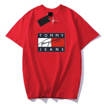 TOMMY Fashion New Summer Bust Letter Print Women Men Sports Leisure T-Shirt Top Red