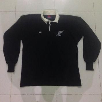 vintage canterbury of new zealand long sleeve international rugby jersey all black pol