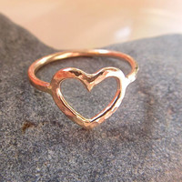Gold Heart Ring, Love, Sweetheart, Valentines Day, Gift for Her, Hammered, Textured, Handmade