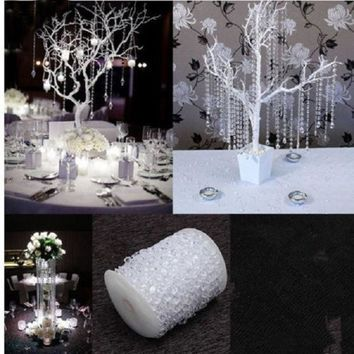 PEAPIX3 60m Clear Crystal Beads Strand DIY Wedding Garland Party Decoration = 1932670532