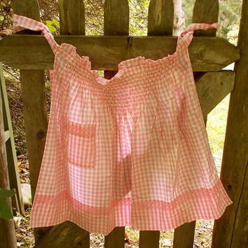 Vintage Pink Gingham Apron with Hand Sewn Smocking and Pocket - Very Pretty