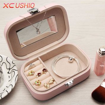 XC USHIO PU Leather Jewelry Storage Box Organizer Portable Women Jewellery Display Box Ring Necklace Case Container