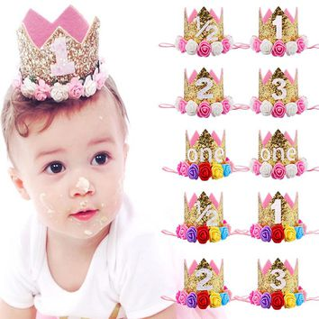 Baby Girl First Birthday Party Hat Decorations Hairband Princess Queen Crown Lace Hair Band Elastic Head Wear Hat Gifts P20