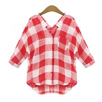 New Lady Women's Fashion Loose Medium Sleeve V-Neck Plaid Shirt Blouse