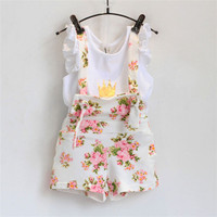 Lovely Girls Sets Crown Flower Summer children's wear cotton casual T Shirt+Bib short 2 Pcs Flying Sleeve Clothing Sets Kids-in Clothing Sets from Mother & Kids on Aliexpress.com | Alibaba Group