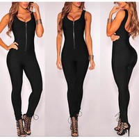 Zipped-Up Black Fitted Jumpsuit
